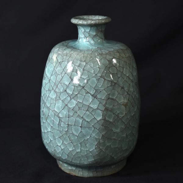 清水卯一 青磁貫入四方 花瓶