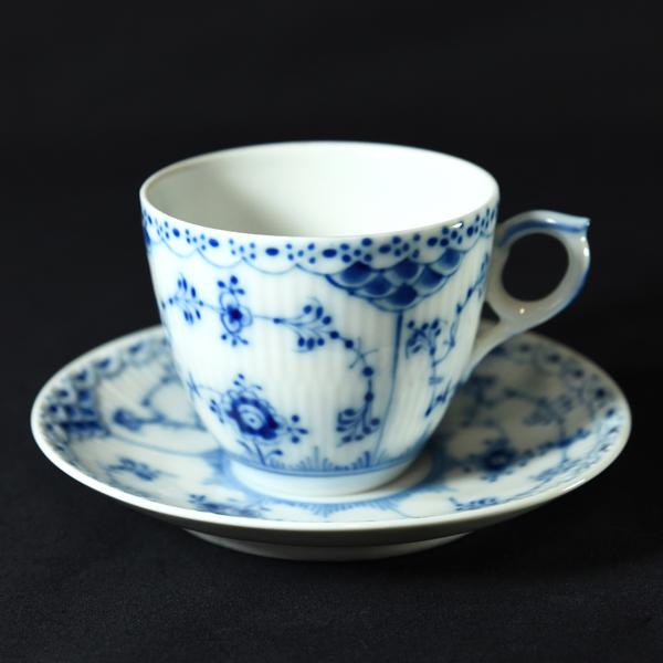 ブルーフルーテッドハーフレース / コーヒーカップ&ソーサー 6客