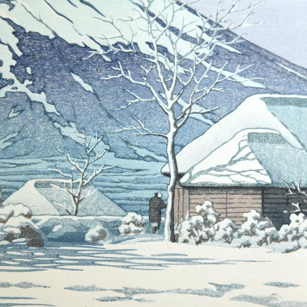 川瀬巴水「富士の雪晴(忍野附近)」木版画