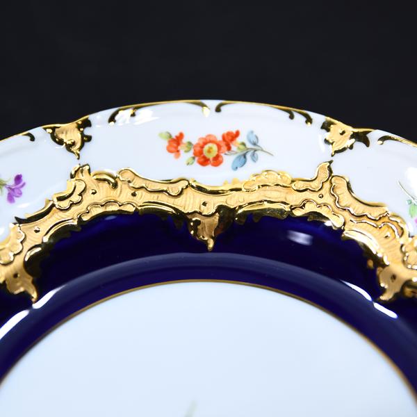 meissen グランツゴールド コバルト小花金彩飾り皿