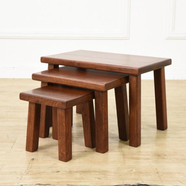 オランダ製 オーク無垢材 ネストテーブル 3台組
