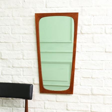 デンマーク製 ヴィンテージ チーク無垢材ウォールミラー