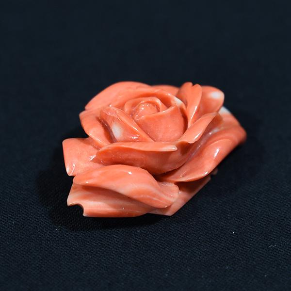 本珊瑚 薔薇彫刻帯留めブローチ
