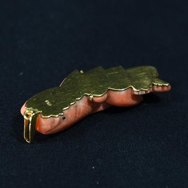 本珊瑚 鯉 帯留めブローチ