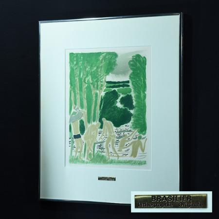 アンドレ・ブラジリエ「シェール川の水浴」リトグラフ