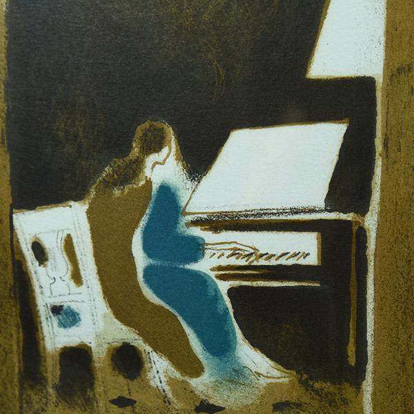 アンドレ・ブラジリエ「ピアノを弾く娘」リトグラフ