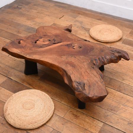 墨流し杢 スポルテッド栃 一枚板 座卓