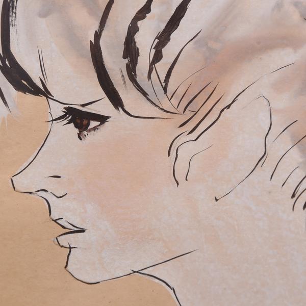 岩田専太郎画 「婦人図」水彩画