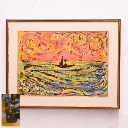 岩崎巴人「船」日本画