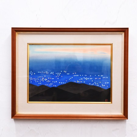 小野竹喬 リトグラフ 「京の灯」