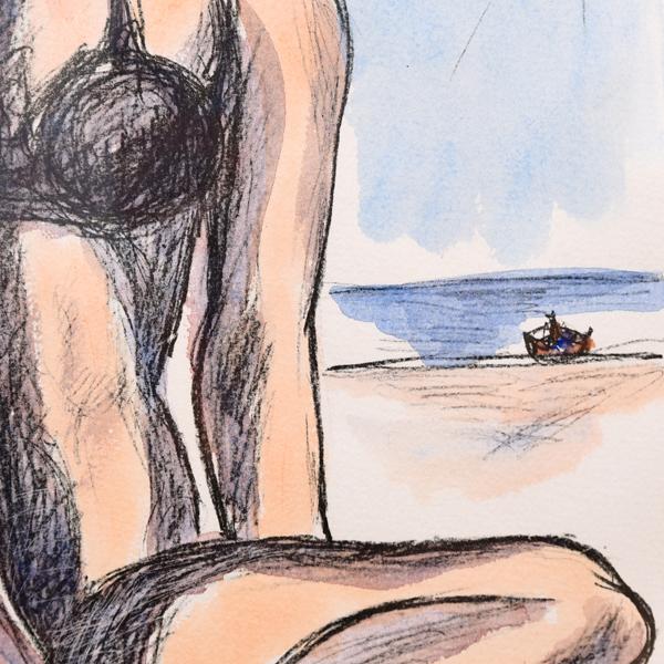 矢橋六郎「暑い日」リトグラフ