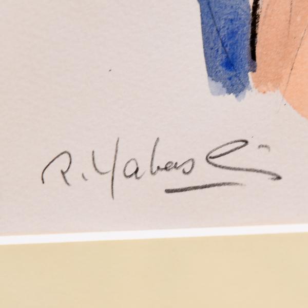 矢橋六郎「白いシュミーズ」リトグラフ