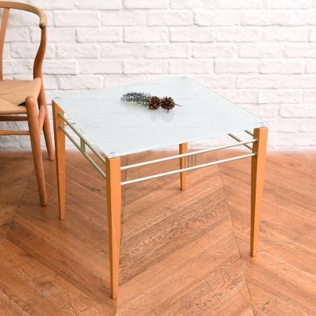 イタリアモダンスタイル ガラスサイドテーブル