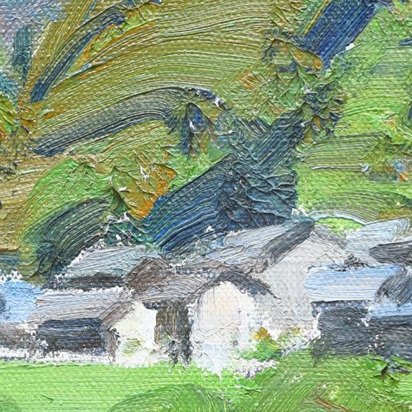 横内襄 「四万十川の春 (半家の沈下橋) 」 額装