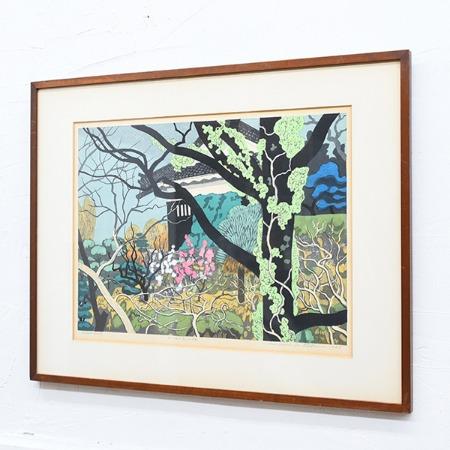 北岡文雄 [ お堀の紅白梅 ] 1979年 Artist Proof 木版画