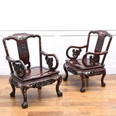 螺鈿細工 唐木 花梨椅子 2脚セット