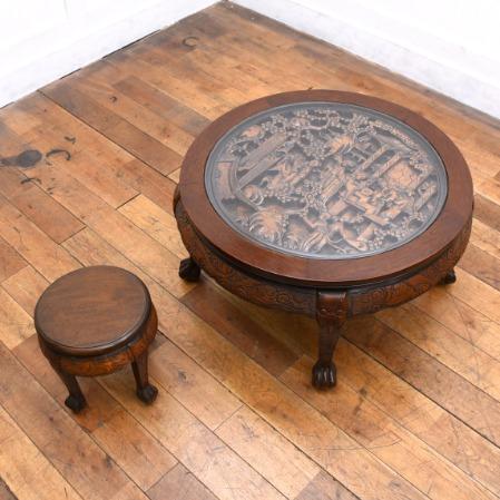 豪華人物風景彫刻 ラウンドテーブル&スツールセット