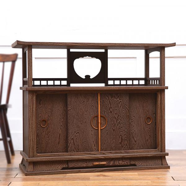 神代杉 浮造り茶棚