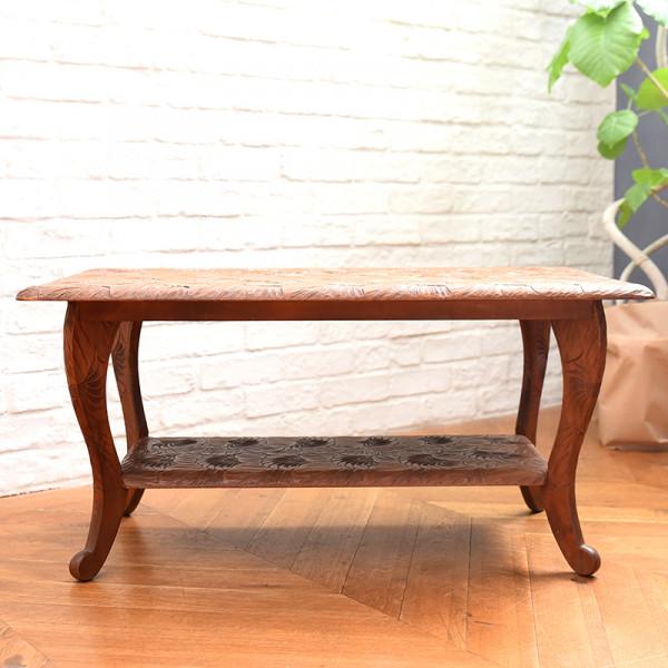 伝統工芸 軽井沢彫 菊花詰め模様 センターテーブル