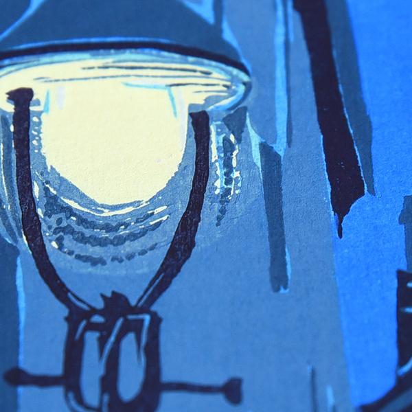 東山魁夷 「夕べの町」 手摺木版画
