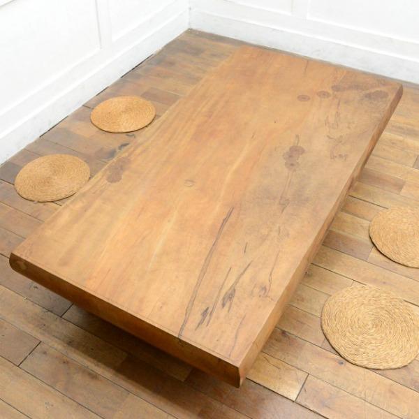 神代栃無垢材 一枚板座卓
