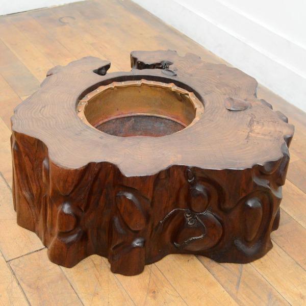 黒檀 刳り貫き火鉢