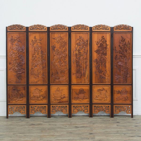中国木彫刻 6連衝立