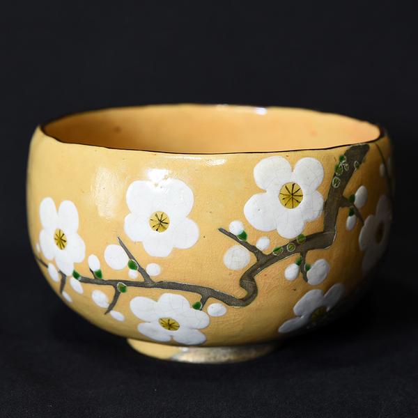 八世乾山 色絵白桜茶碗 共箱布
