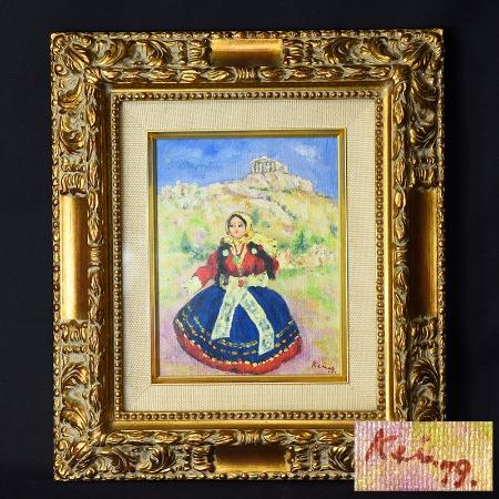 梅宮馨四郎 [ 土産の人形 ] 油彩額装