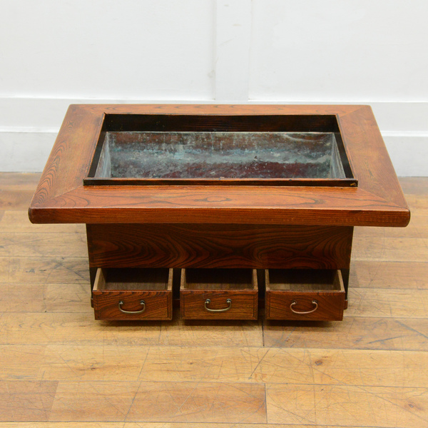 栗材 関西火鉢テーブル