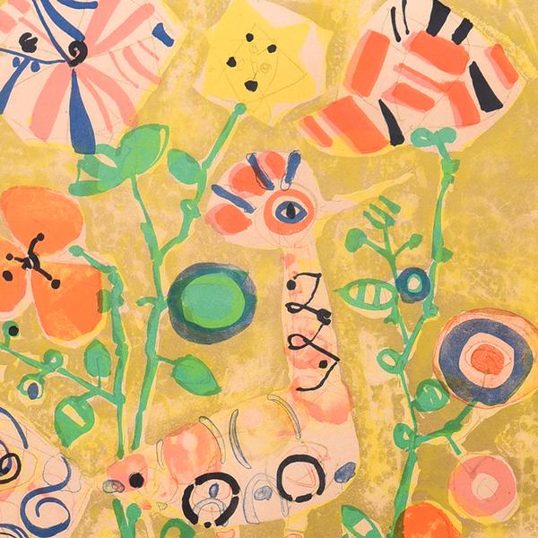 Paul Aizpiri [ 緑のある花 ] リトグラフ