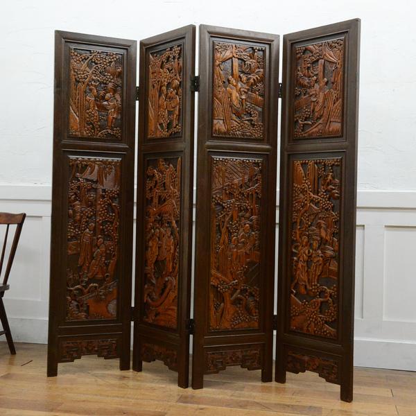 中国木彫刻 高級4連衝立