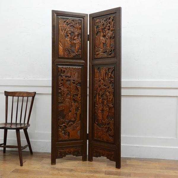 中国木彫刻 高級2連衝立