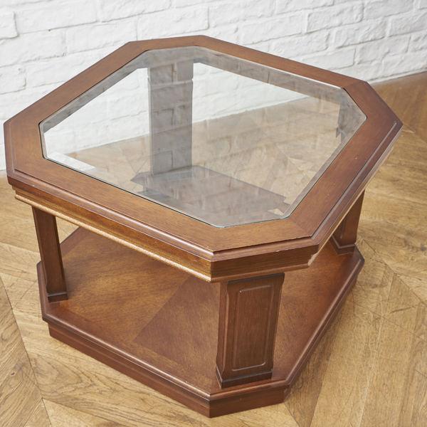 地中海 ガラス天板サイドテーブル