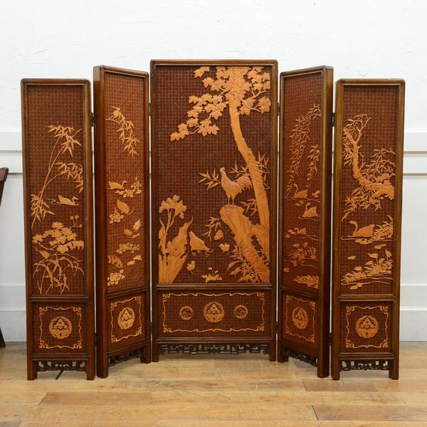 中国格子細工木彫刻 5連衝立