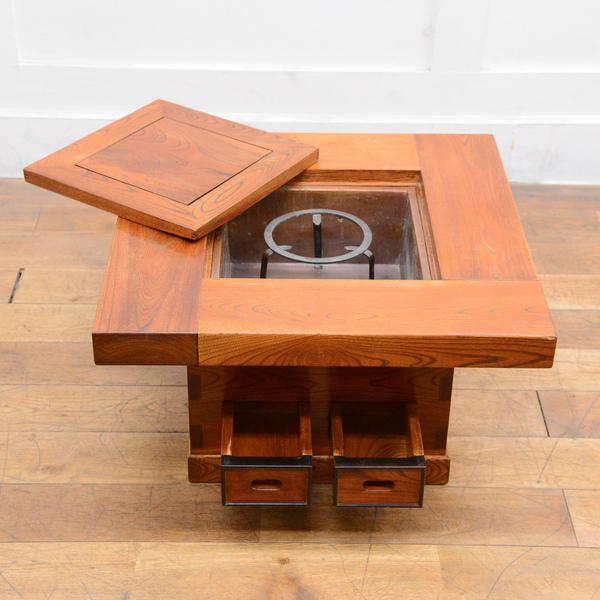 欅無垢材 関西火鉢テーブル