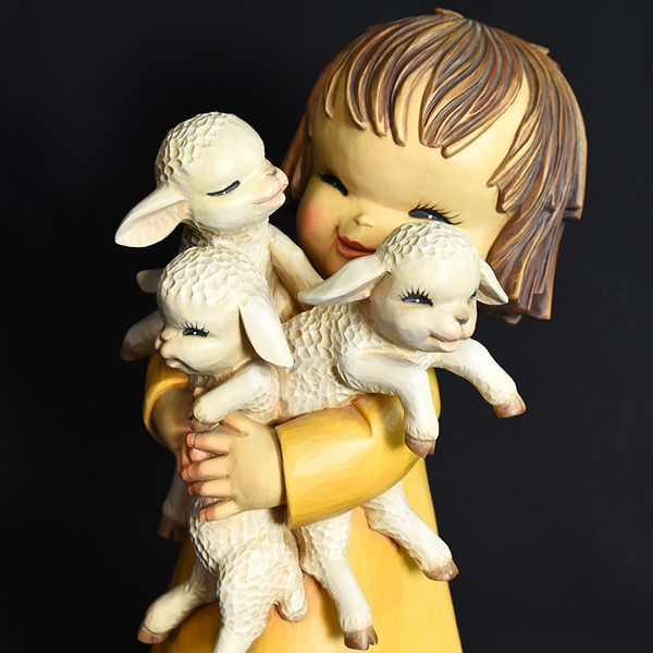 ANRI ferrandiz 子羊を抱く少女 木彫人形