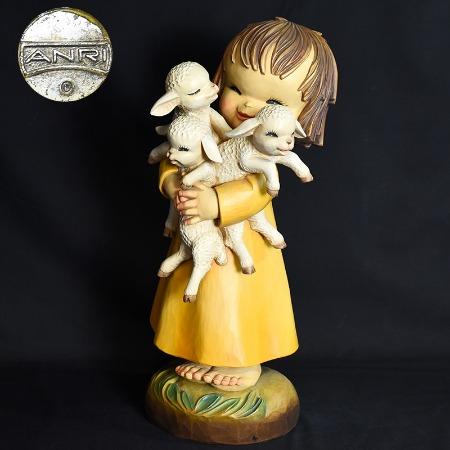 アンリ ANRI / Italia ANRI ferrandiz 子羊を抱く少女 木彫人形