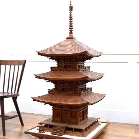 重要文化財 石峯寺三重塔 / 精密彫刻 大型木製模型 1/20