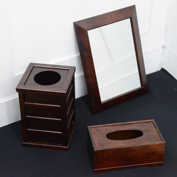 北海道民芸家具 HM847掛鏡 HM898屑箱 HM908ティッシュボックス 3点セット