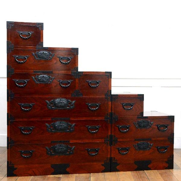 仙台箪笥 欅材 階段箪笥