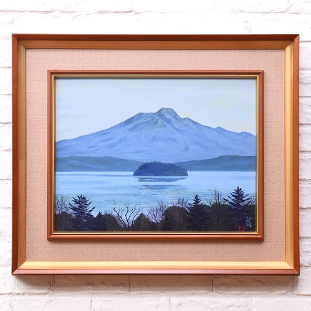 中野蒼穹 [ 山湖 ] 日本画額装