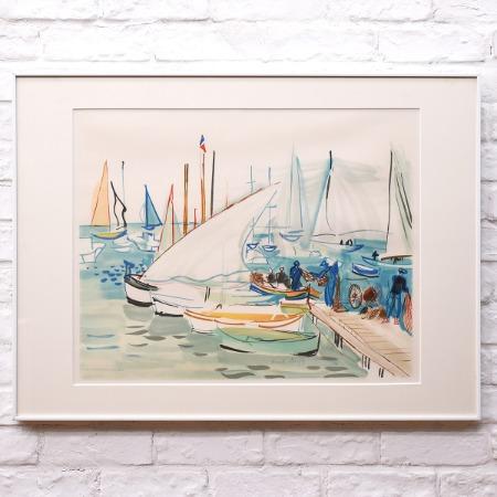 Raoul Dufy [ カンヌの釣り船 ] リトグラフ 額装