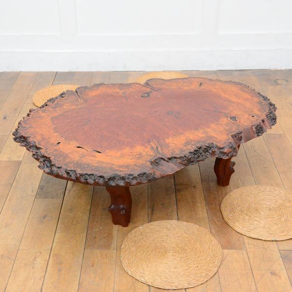 花梨輪切り 瘤杢座卓