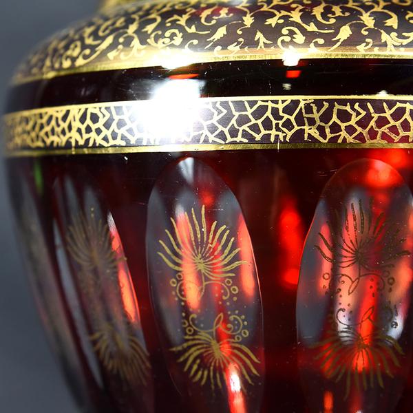 Bohemia glass 金彩 大花瓶