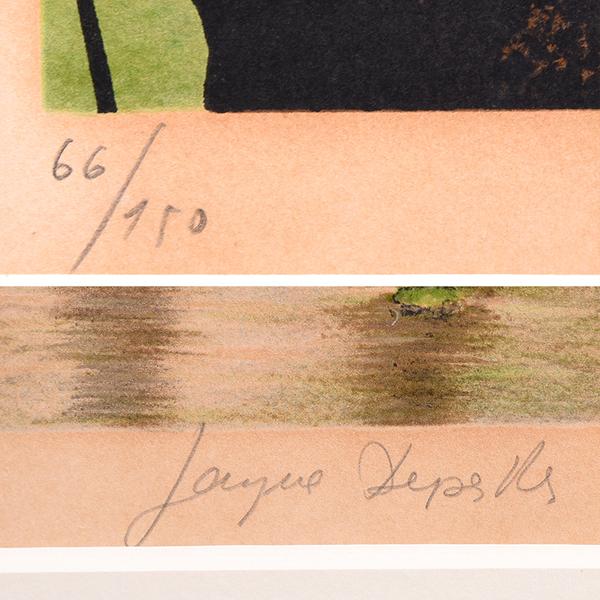 Jacques Deperthes 風景画 66/150 リトグラフ額装