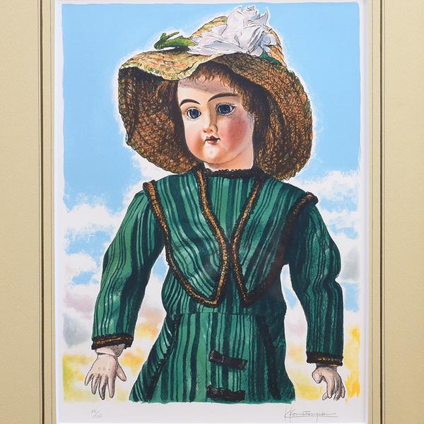 小松崎邦雄 西洋人形 86/125 リトグラフ額装