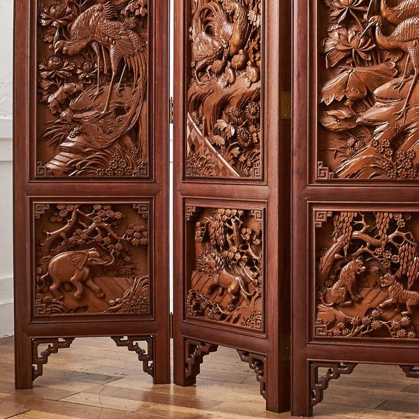 中国木彫刻 唐木花梨フレーム 高級4連衝立