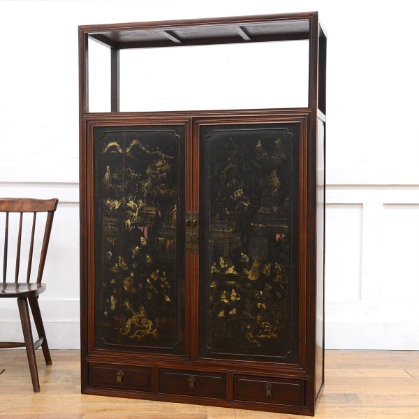 中国美術 年代物 紫檀材 唐木器局棚