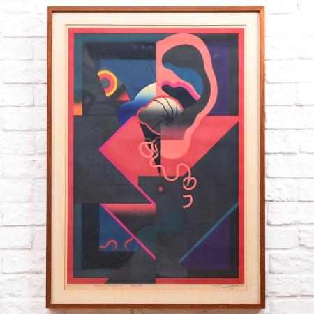 黒崎彰 [ 暗号の森8 W-172 ] 1973年 42/50 木版画額装